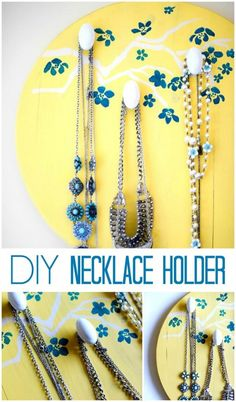 DIY cherry blossom Necklace holder by Place of My Taste - click thru for the full tutorial. #stencil1 #edroth #stenciling #crafts #diy #plaidcrafts #folkart | Supplies available at Joann.com or your local Jo-Ann Fabric and Craft Store