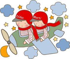 vinilo infantil hermanitos en avioneta