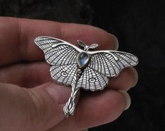 Your place to buy and sell all things handmade Metal Clay Jewelry, Jewelry Art, Silver Jewelry, Jewellery, Bird Necklace, Butterfly Necklace, Moonstone Necklace, Things To Buy, Moth