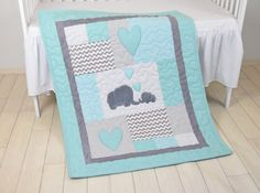 Twin Baby Quilts, Elephant Blankets, Elephant Quilt Blankets, Teal Yellow and Gray Baby Patchwork Blankets Its never easy to choose a colour or theme when you're expecting twins. Especially if they are a boy and a girl. It is always a good practice to go for neutral colours, but you can be a b