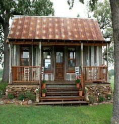 prefab cottage small homes in texas on unique ranch house plans manufactured Tiny Cabins, Tiny House Cabin, Cabins And Cottages, Log Cabins, Prefab Cottages, Small Cottages, Rustic Cabins, Small Rustic House, Small Cottage Homes