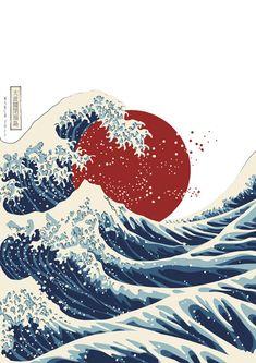Japan Illustration, Botanical Illustration, Waves Wallpaper, Retro Wallpaper, Japanese Artwork, Japanese Painting, Chinese Painting, Illustrator, Frida Art