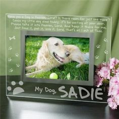 Personalized Engraved Dog Memorial Glass Picture Frame