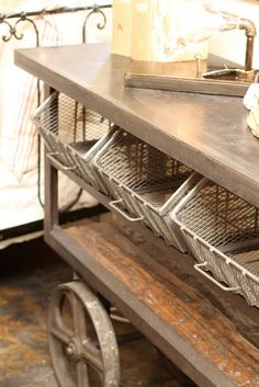 galvanized industrial cart w/ bins - I want this!