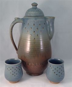 Teapot Set- Blue - Brown by Matthew Kelly #PinehurstPottery