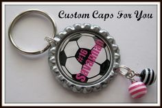 PERSONALIZED Soccer Ball Bottle Cap Pendant by CustomCapsForYou