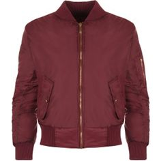 Lain Zip Bomber Jacket ($31) ❤ liked on Polyvore featuring outerwear, jackets, bomber jackets, tops, coats, wine, padded jacket, long jacket, bomber jacket and cropped bomber jacket