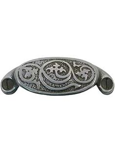 """3 1/4"""" Decorative Iron Bin Pull With Antique Pewter Finish 