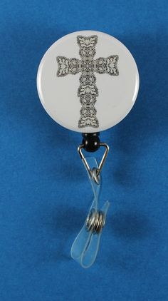 Ornate Black and White Cross Button Retractable Badge Reel, ID Badge Holder