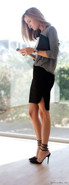 Grey top, black pencil skirt pumps, black pouch / Garance Doré