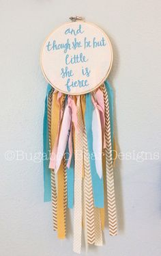 Dream Catcher, And Though She Be But Little She Is Fierce, Gold Nursery, Teal Nursery, Girl Nursery, Nursery Decor, Children's Room Decor, by BugabooBearDesigns on Etsy https://www.etsy.com/listing/228187956/dream-catcher-and-though-she-be-but