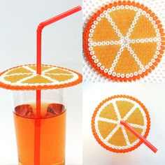 Orange drink glass cover perler beads - SES Creative