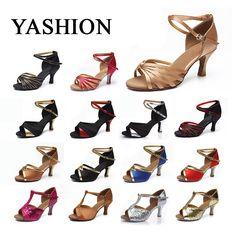 Neue Marke Satin/PU Mädchen Damen frauen Tango Salsa Dance Ballroom Latin Dance Schuhe 7 cm Heels 22 farben Großhandel und Einzelhandel