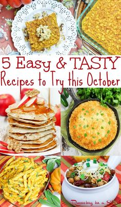 5 Easy & Tasty October Recipes - These healthy vegetarian fall recipes include dinners, soup, breakf Autumn Recipes Vegetarian, Fall Recipes, Whole Food Recipes, Vegetarian Entrees, Brunch Recipes, Snack Recipes, Easy Delicious Recipes, Tasty, Healthy Recipes