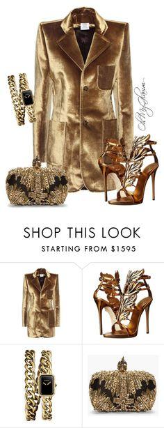 """Golden Velvet"" by maria-barragan on Polyvore featuring moda, Vetements, Giuseppe Zanotti, Chanel y Alexander McQueen"