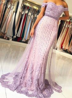 Let your natural beauty radiate in our breath taking Dressself dress! Off the Shoulder Long Formal Gowns Lavender Evening Dresses Appliques is Made-To-Order. Lavender Prom Dresses, Mermaid Prom Dresses Lace, Lilac Dress, Lace Mermaid, Long Formal Gowns, Formal Evening Dresses, Evening Gowns, Prom Dresses 2017, Applique Dress