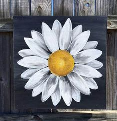 Daisy Painting FLowers Wood Panel Original Flower Art by ClarabelleArte New drawing flowers daisy canvases ideas The gallery for --> White Daisy online school k 12 how to paint easy watercolor flowers – a sprinkle of life good painting ideas painting id Simple Acrylic Paintings, Acrylic Painting Canvas, Painting On Wood, Black Canvas Paintings, Rustic Painting, Acrylic Painting Flowers, Acrylic Painting For Beginners, Acrylic Art, Easy Flower Painting