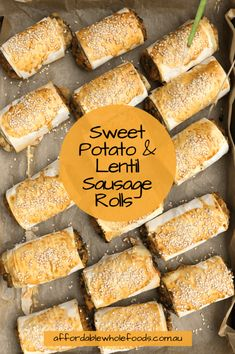 Sweet Potato & Lentil Sausage Rolls are filled with lots of nutrients and packed with flavour. They are great for family dinners, weekend picnics or one of your party appetisers for those who don't eat meat. Lentil Recipes, Vegetarian Recipes, Whole Food Recipes, Cooking Recipes, Cake Recipes, Savory Pastry, Savoury Pies, Good Food, Yummy Food