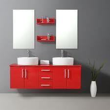 La salle de bain rouge donne des idées couleur au gris et noir ...