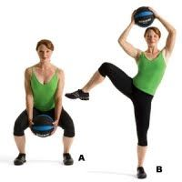 Sumo Squat Side Knee Raise and Side Crunch Works: arms, core, and entire lower body. Do reps, then repeat on the other side. That's one set. Do three, resting for 30 seconds between sets. Fitness Goals, Fitness Motivation, Health Fitness, Women's Health, Health Tips, Fitness Fun, Workout Fitness, Fitness Diet, Health Care