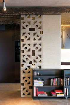 Ornate concrete blocks used to separate loft space
