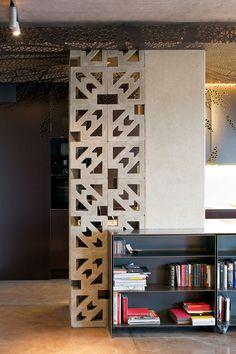 Ornate concrete blocks used to separate loft space