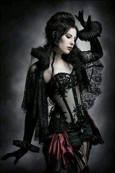 Goth girl lingerie, or burlesque