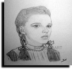 JUDY GARLAND WIZARD OF OZ PENCIL DRAWING DOROTHY GALE   OVER THE  RAINBOW #Realism