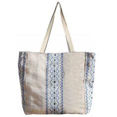 Aruba Jute Beach Bag White/Marina Blue