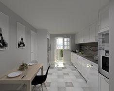 Cocina modelo Época Laca Blanco y encimera Dekton. Los detalles en tonos grises le aportan un estilo moderno.