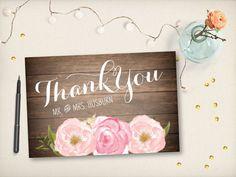 Thank You Wedding Postcard Modern Rustic by VintageBellsAndCo