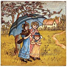 Under the Umbrella ~ Kate Greenaway, Children ~ Counted Cross Stitch Pattern #StoneyKnobFarmHeirlooms #CountedCrossStitch