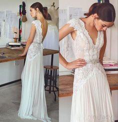 Neu Strand Hochzeitskleider Chiffon Spitze Boho Brautkleid Partykleid Abendkleid | eBay