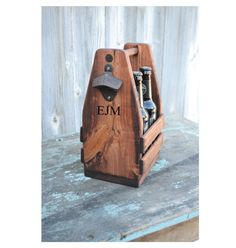Personalized Rustic 4-Pack Beer Tote Bottle by EagleCapCreations