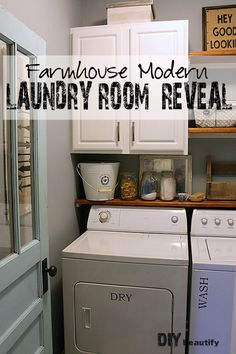 I added farmhouse charm to my boring builder-grade laundry room for Under $200!!!! View the reveal of this fabulous makeover and get details for all the projects at DIY beautify