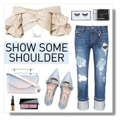 """#showsomeshoulder"" by hellodollface ❤ liked on Polyvore featuring Johanna Ortiz, Tortoise, Miu Miu, M2Malletier, Huda Beauty, Bobbi Brown Cosmetics, Sydney Evan, Chanel and showsomeshoulder"