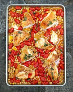 Roasted chicken with tomatoes & chickpeas
