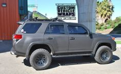 We wrapped a Toyota with a matte black Avery Supercast Laminate & DOL Gloss vehicle wrap. Toyota Trucks, Toyota 4runner, Matte Black Wrap, Toyota Girl, Car Wrap, Black Velvet, Cool Cars, Dream Cars, Jeep