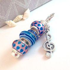 Zipper Pull, Zipper Charm, Treble Clef, Purse Charm, Backpack Charm, Gift of Music, Music Teacher, European Charm Beads by BeadGlitzy on Etsy