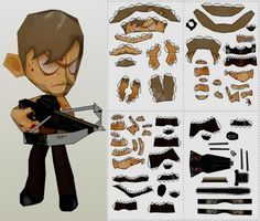 The Walking Dead - Daryl Dixon Paper Toy - by Paper Juke - == - With 37cm tall and occupying 4 sheets of paper, this papercraft of Daryl Dixon, character from The Walking Dead tv series, was created by French designer Metal Heart, from Paper Juke website.