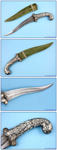 Indian khanjar dagger, mid 19th century,  re-curving 8 1/2 in blade, finely forged with a central rib and slightly thickened tip. Steel handle finely decorated with silver images of flowers and animals. Original wood scabbard with green velvet cover. Total length 13 1/2 inches.