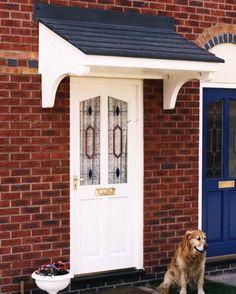 New Front Door Porch Canopy Bespoke Ideas Front Door Overhang, Front Door Porch, Porch Roof, Diy Porch, House Front, Front Doors, House Entrance, Entrance Doors, Oak Doors