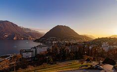 Sunsetlight behind of San Salvatore hill. Lugano, Image Types, Switzerland, San, Landscape, Scenery, Corner Landscaping