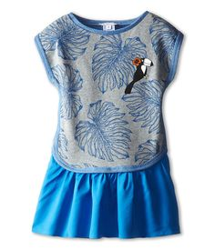 Little Marc Jacobs Printed Fleece Dress with Woven Bottom (Toddler/Little Kid)