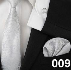 neck tie set for men handkerchief pocket square cufflinks silk ties