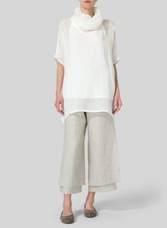 VIVID LINEN - Sheer Linen Turtleneck Tunic | Made with 100% Natural Weave Sheer Linen, this sheer and soft tunic has a dramatic big turtleneck to help you achieve a clean yet modern look for all occasions.