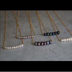 Natural Pearl Bar Dainty Necklace