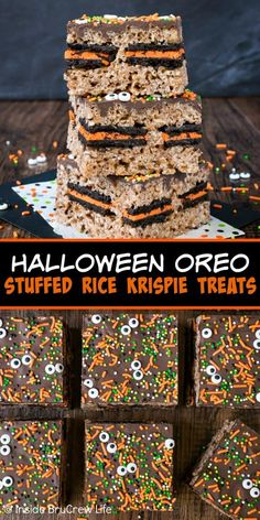 Halloween Oreo Stuffed Rice Krispie Treats - chocolate, sprinkles, and Oreo cook. - Halloween Oreo Stuffed Rice Krispie Treats – chocolate, sprinkles, and Oreo cookies add a fun fes - Halloween Desserts, Halloween Oreos, Halloween Treats For Kids, Halloween Goodies, Holiday Desserts, Baby Halloween, Halloween Chocolate, Haunted Halloween, Spooky Treats