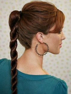 A rope braid ponytail is perfect for work, running errands, or going out on the town: http://www.bhg.com/beauty-fashion/hair/popular-hairstyles-from-pinterest/?socsrc=bhgpin050214ropebraid&page=7