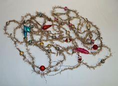 Alter Tinsel - 4 x Tinselkette mit  Lauscha Glaskugeln - ca. 560 cm  (# 5382)